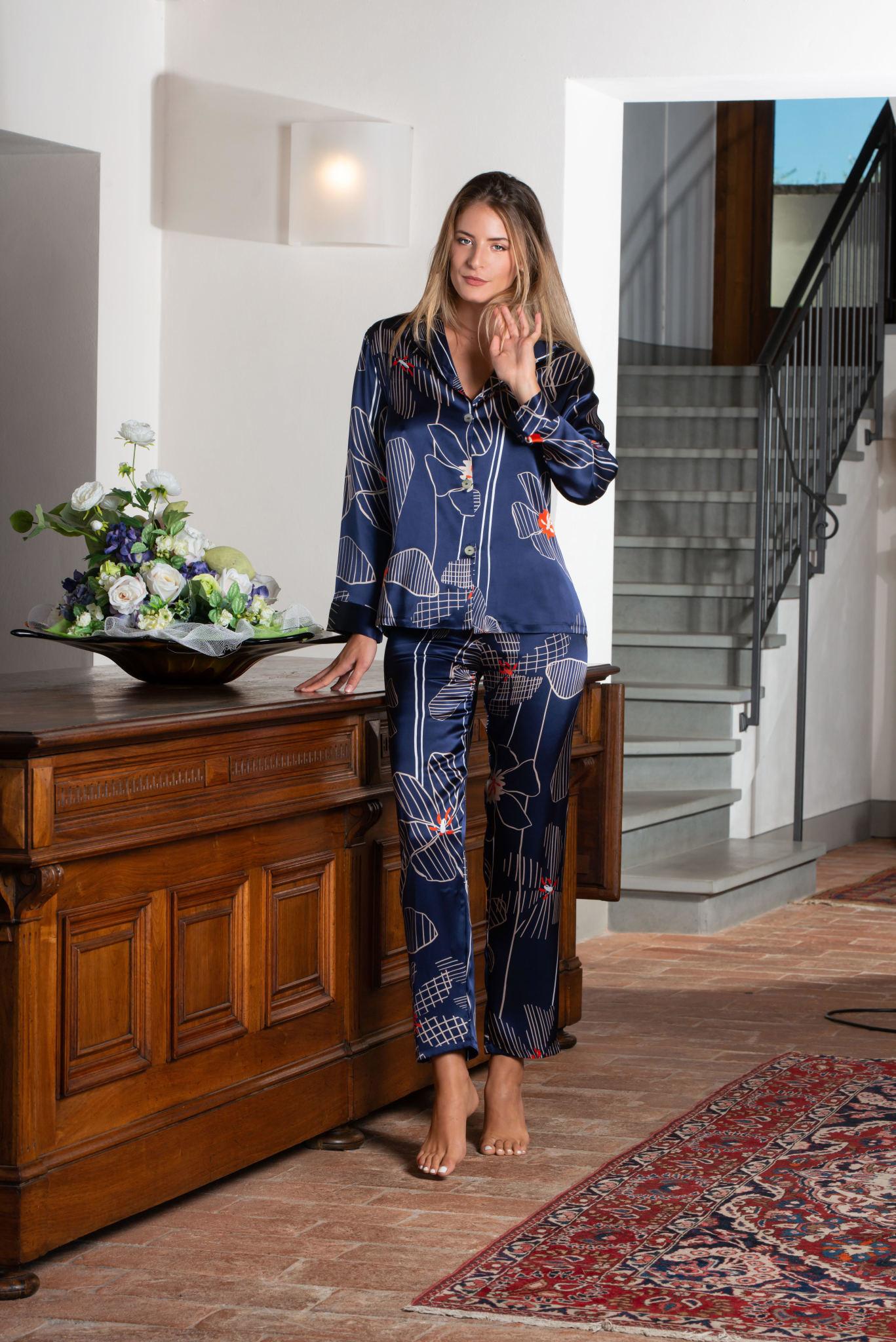 Clara Rossi Clara Rossi Silk PJ Dark Blue 5979