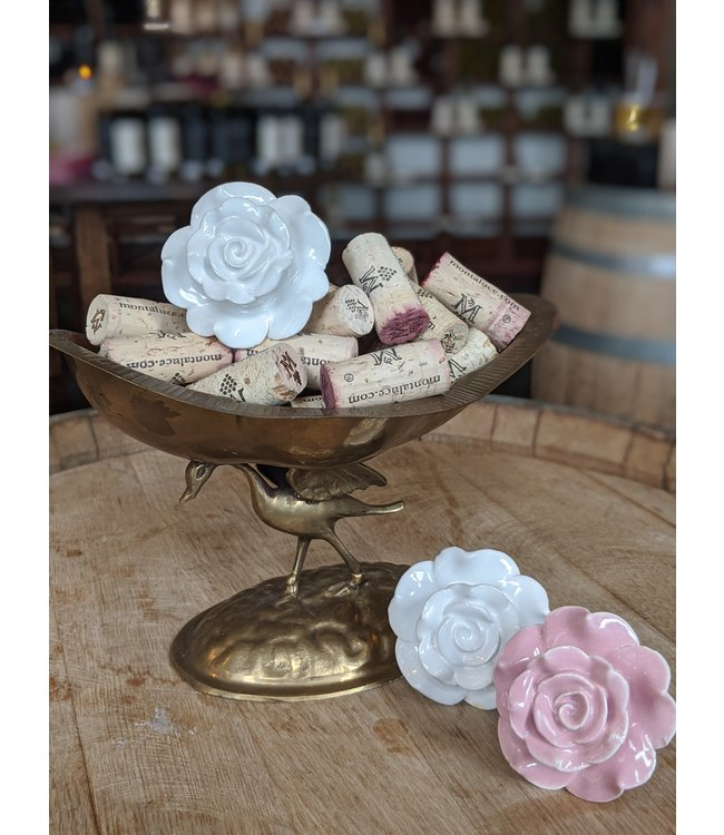 Twine Ceramic Rose Bottle Stoppers
