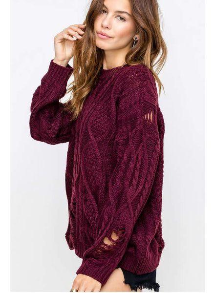 LUSH Distressed Burgandy Kylie Sweater