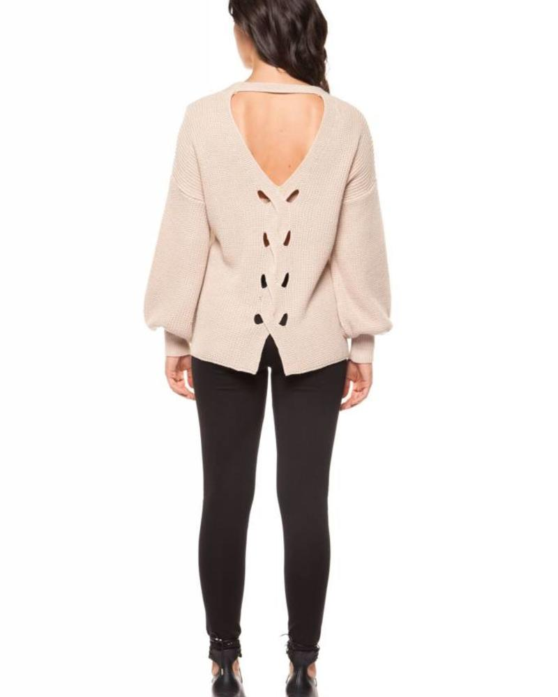 Open Back Puffy Sleeve Knit