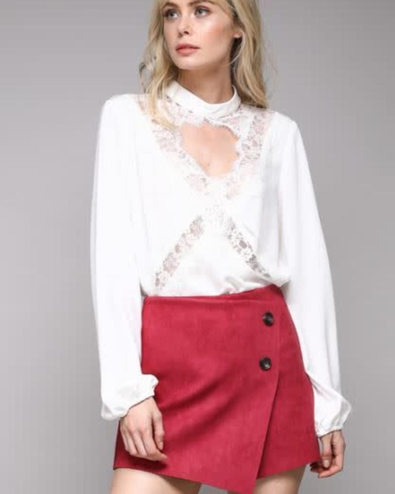 DO+BE Criss Cross Lace Blouse