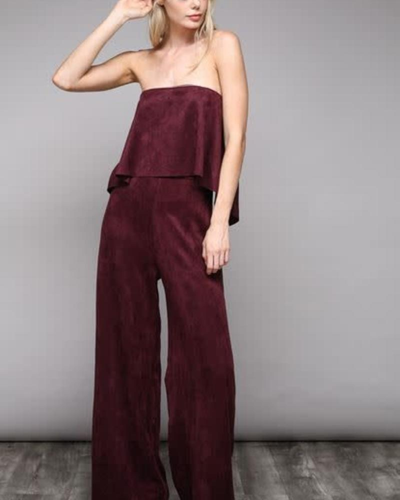 Faux Suede Tube Jumpsuit