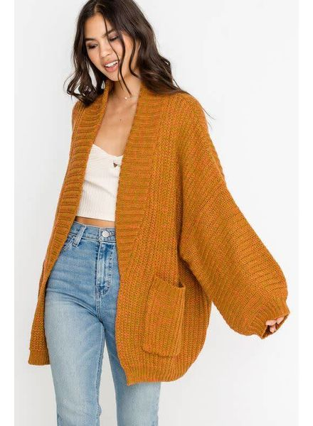 Slouchy Sleeve Knit Cardigan | Mustard
