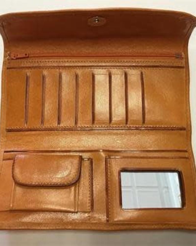 Leather Flower Wallet | Tan