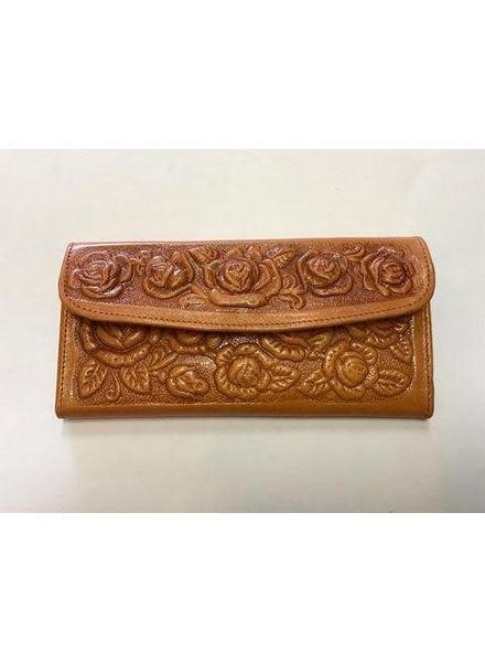 Wold & Wyze Leather Flower Wallet | Tan
