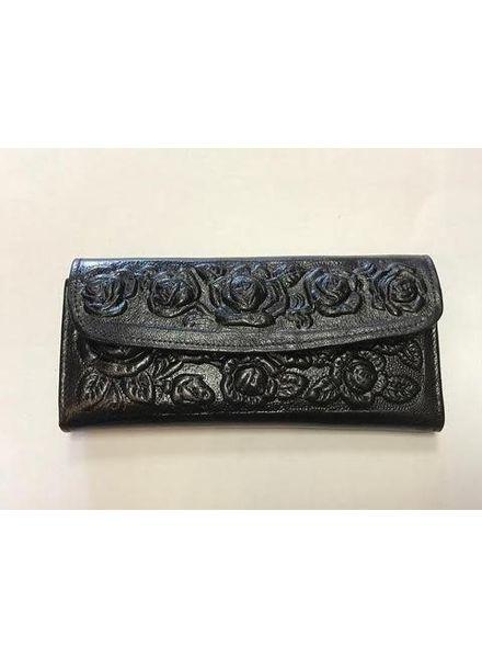 Wold & Wyze Leather Flower Wallet | Black