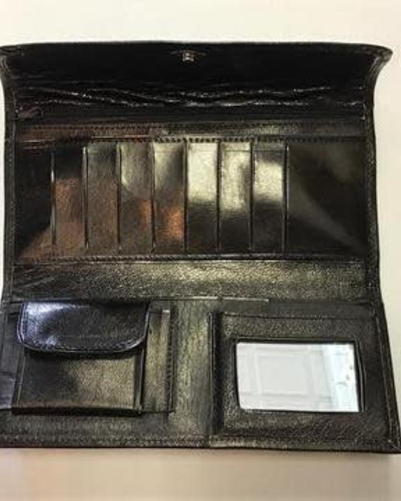 Leather Flower Wallet | Black