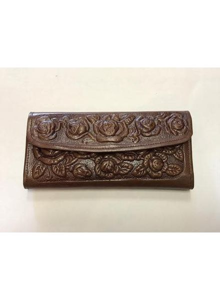 Wold & Wyze Leather Flower Wallet | Brown