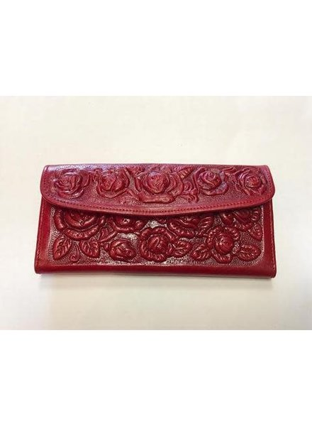 Leather Flower Wallet | Red