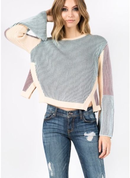 Strut & Bolt Galloon Multi Color Block Ribbed Sweater