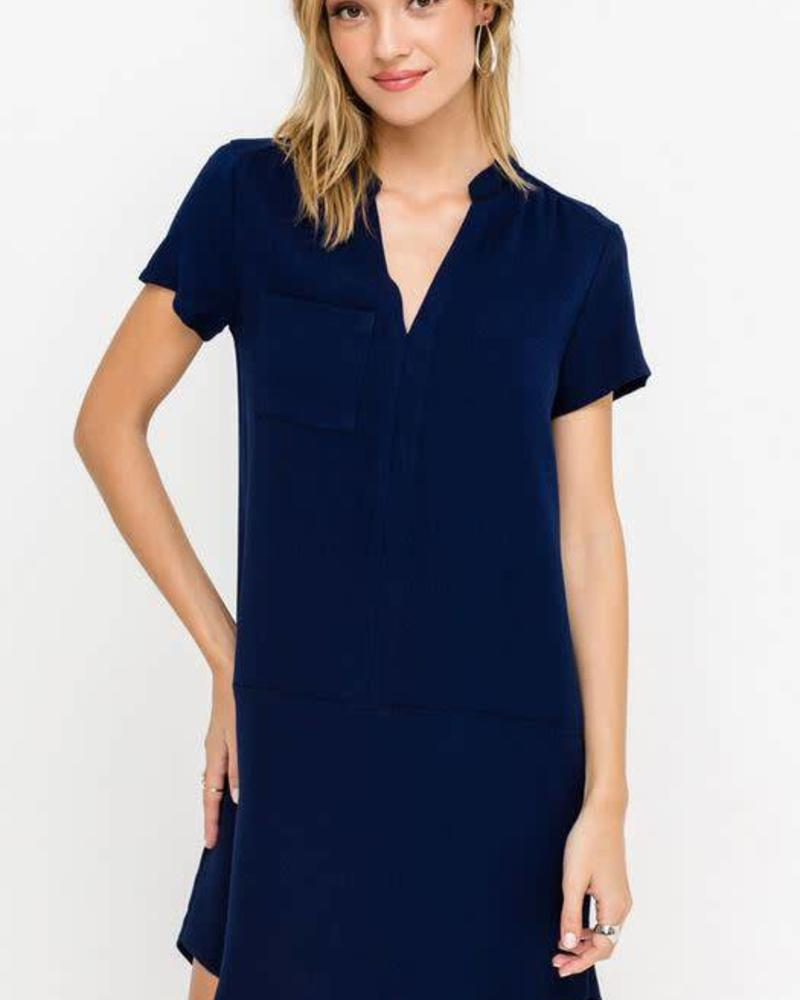 LUSH Peacoat V-Neck Shift Dress