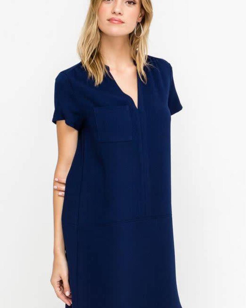 Peacoat V-Neck Shift Dress