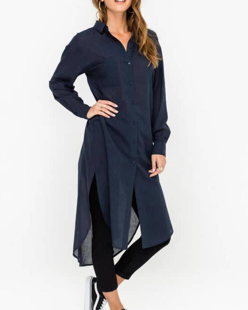 LUSH Airy Seersucker Tunic Shirt Dress Kimono