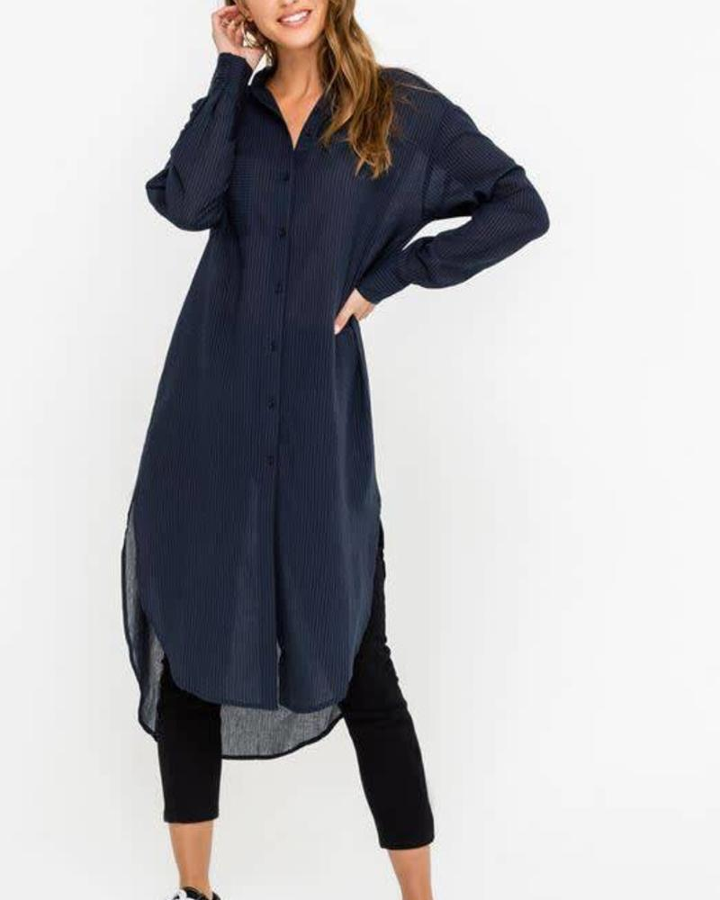 Airy Seersucker Tunic Shirt Dress Kimono