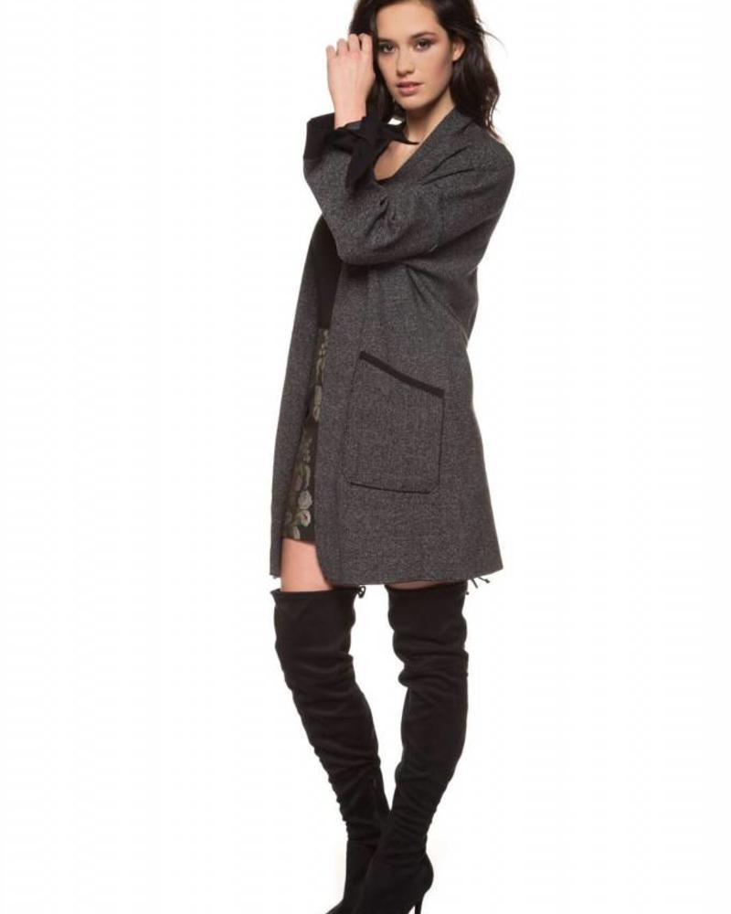 Black Tape/Dex Contrast Cuff Sweater Cardigan