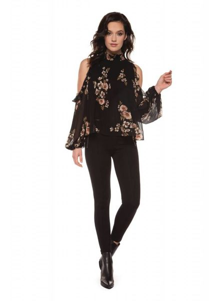 Black Tape/Dex Poppy Floral Blouse