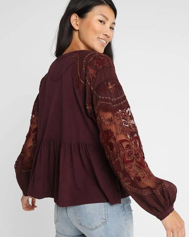 Free People Embroidered Penny Tee