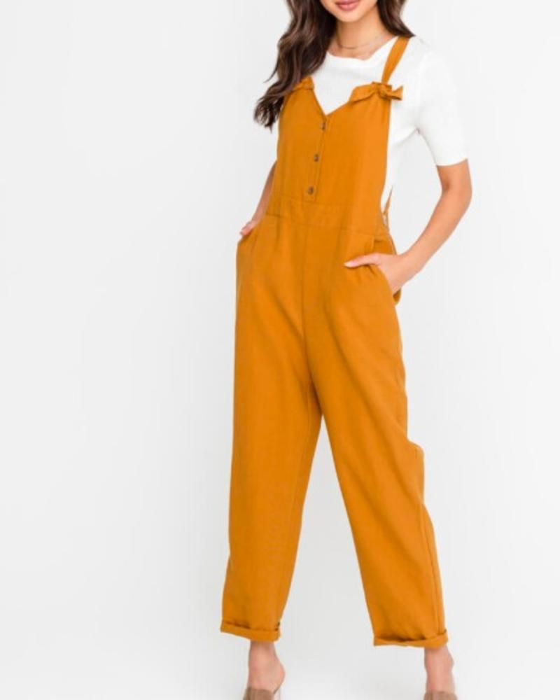 Buttoned Knotted Strap Overalls