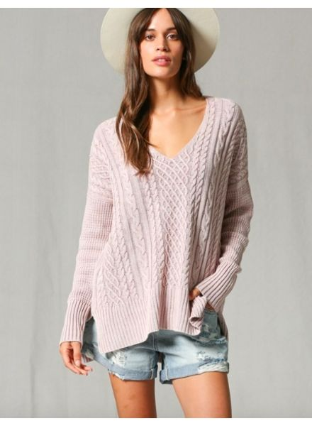 By Together Dusty Rose Cable Knit V-Neck