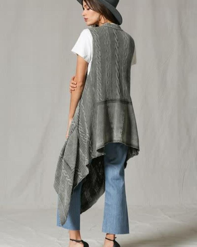 By Together Cable Knit Open Front Cardi
