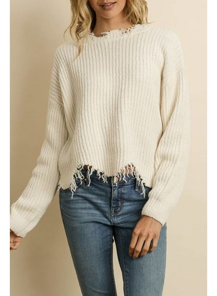 Dress Forum Distressed Knit Sweater | Cream