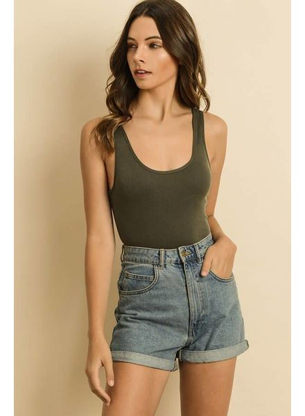 Dress Forum Sleeveless Ribbed Bodysuit | Olive