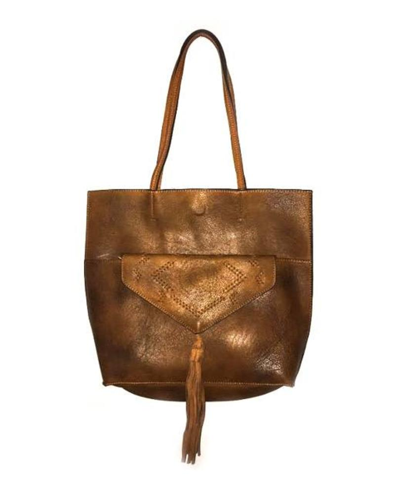Embroidered Clutch Tote | Brown