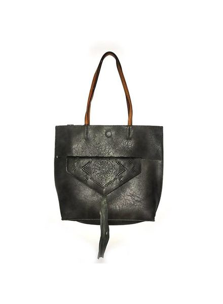 Embroidered Clutch Tote | Black