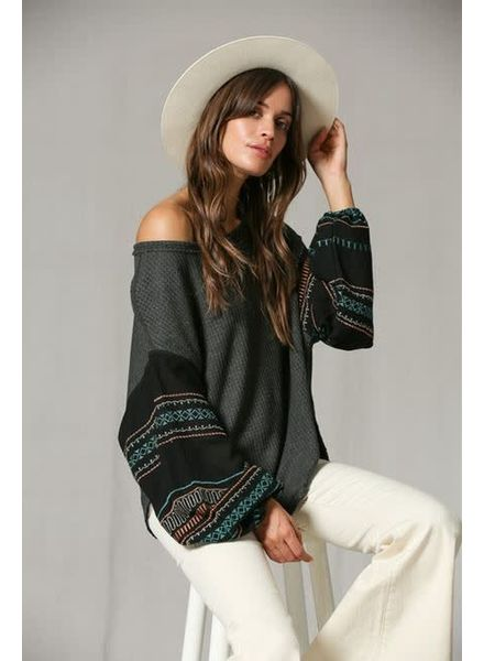 By Together Thermal Gypsy Embroidered Top | Charcoal