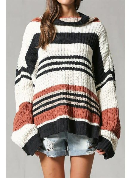 By Together Stripe Turtle Neck Sweater