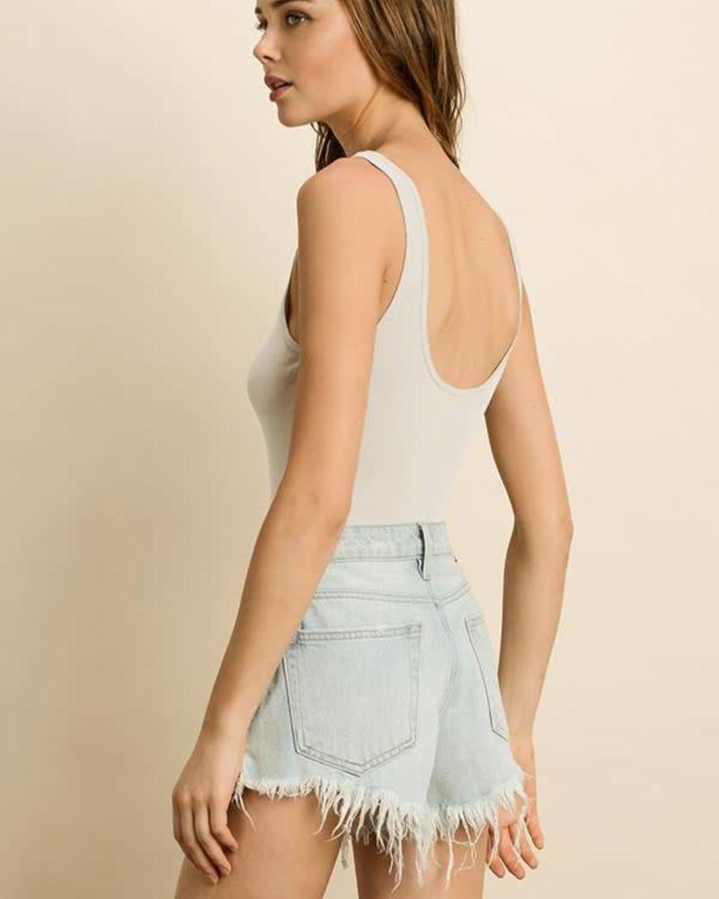 Sleeveless Ribbed Bodysuit | Ivory