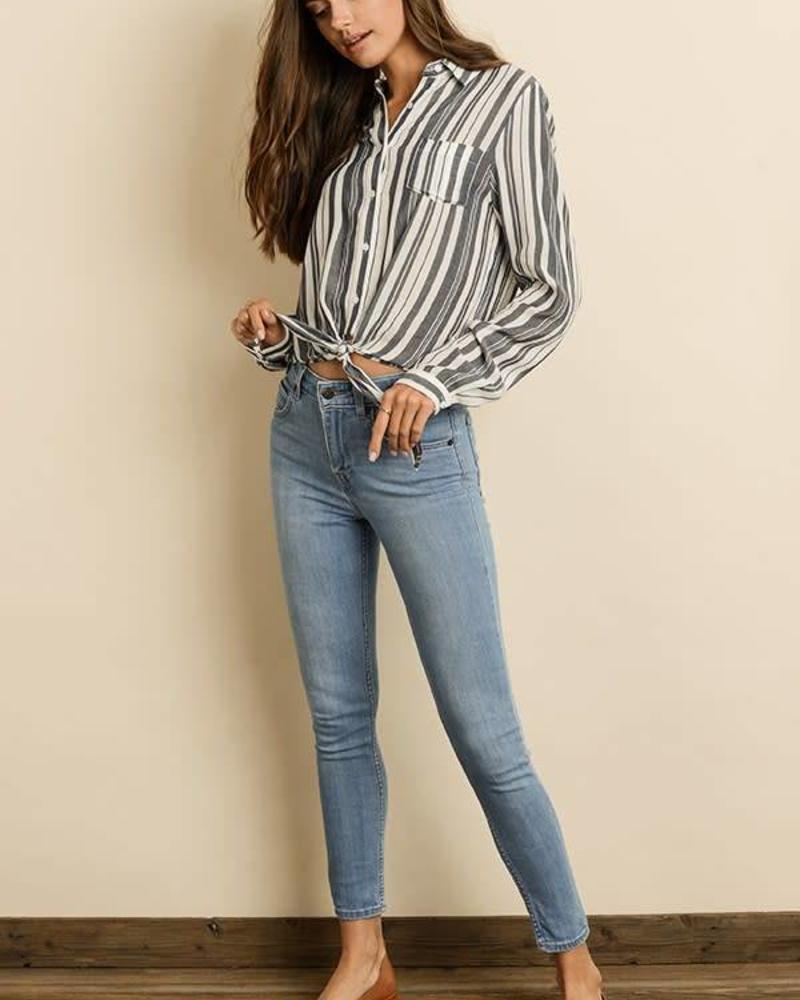 Dress Forum Stripe Knot-Front Shirt