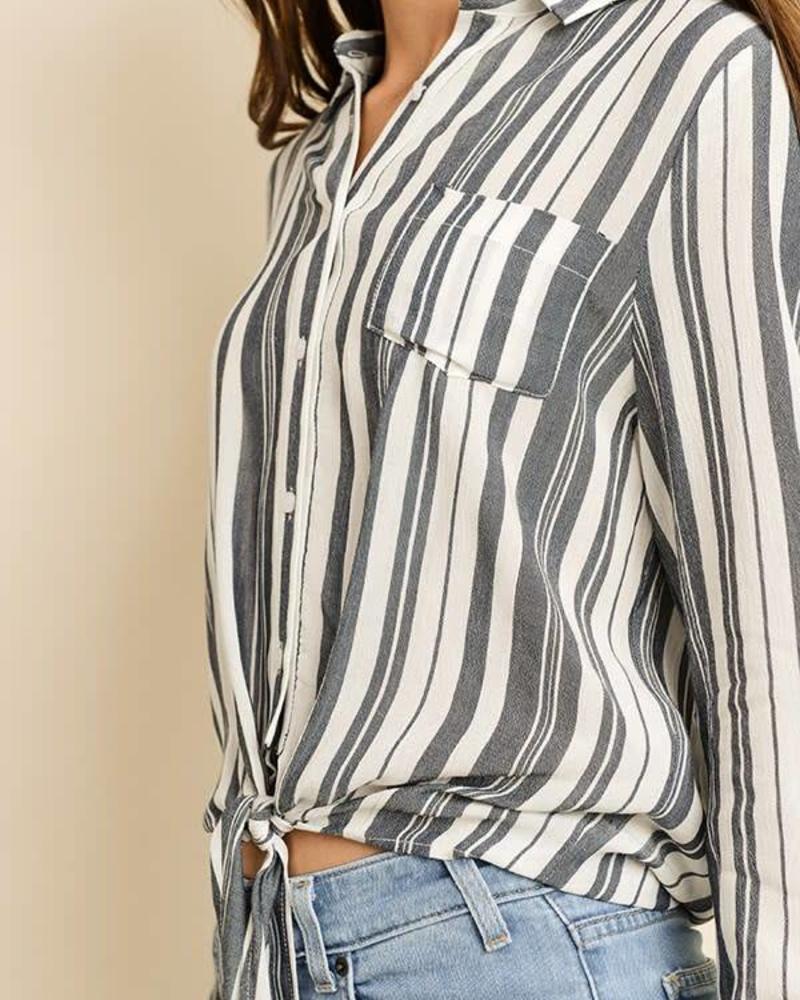 Stripe Knot-Front Shirt