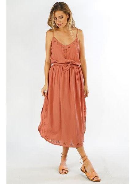 LOVE STITCH Eyelet Embroidered Midi Dress