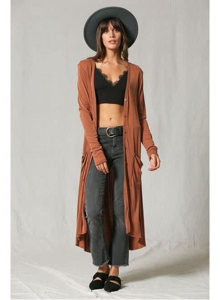 Rust Ribbed Maxi Duster