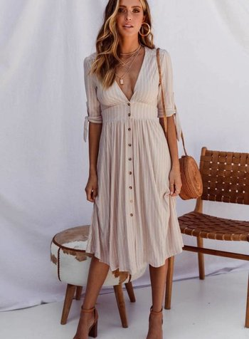 Beige Known Dress