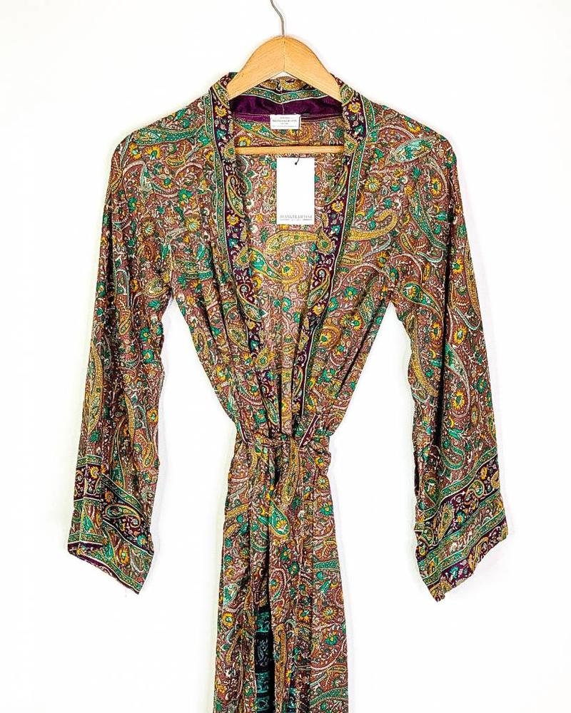 Southern Kimono | Turq/Purple Paisley