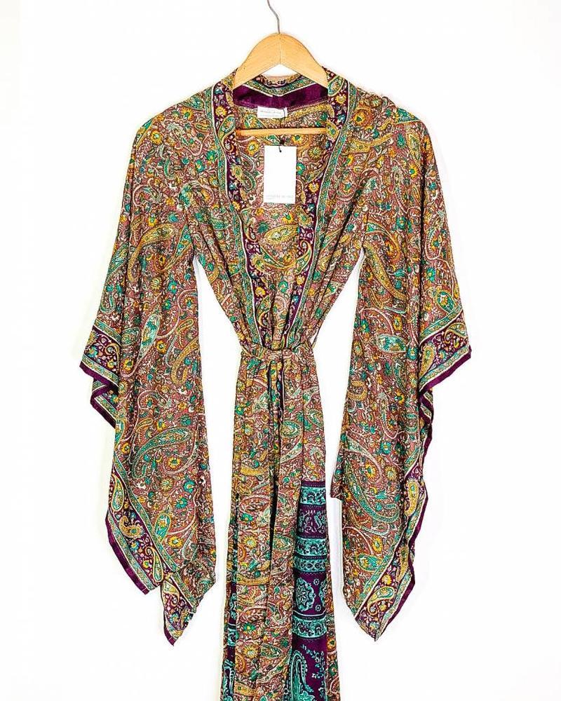 Northern Kimono | Turq/Purple Paisley
