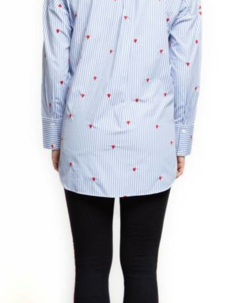 Blue Stripe Heart Embroidered Blouse