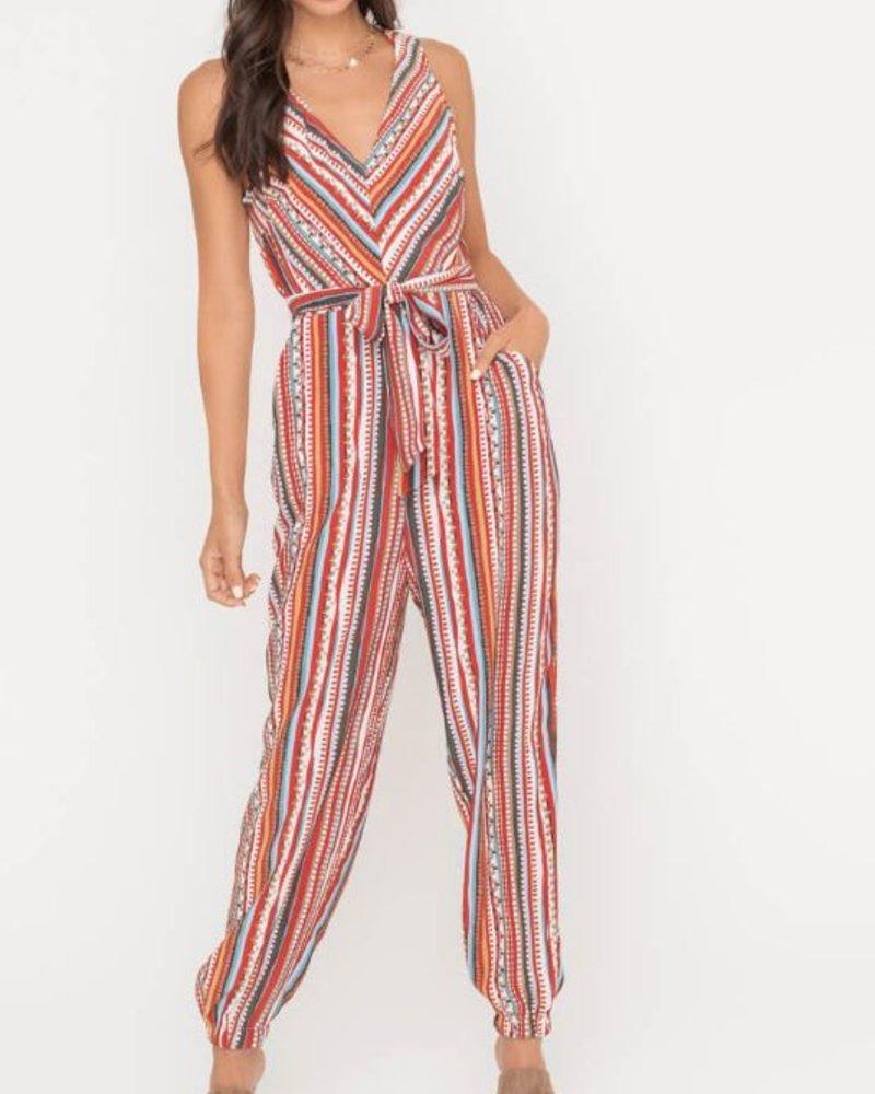 Striped V-Neck Tapered Jumpsuit
