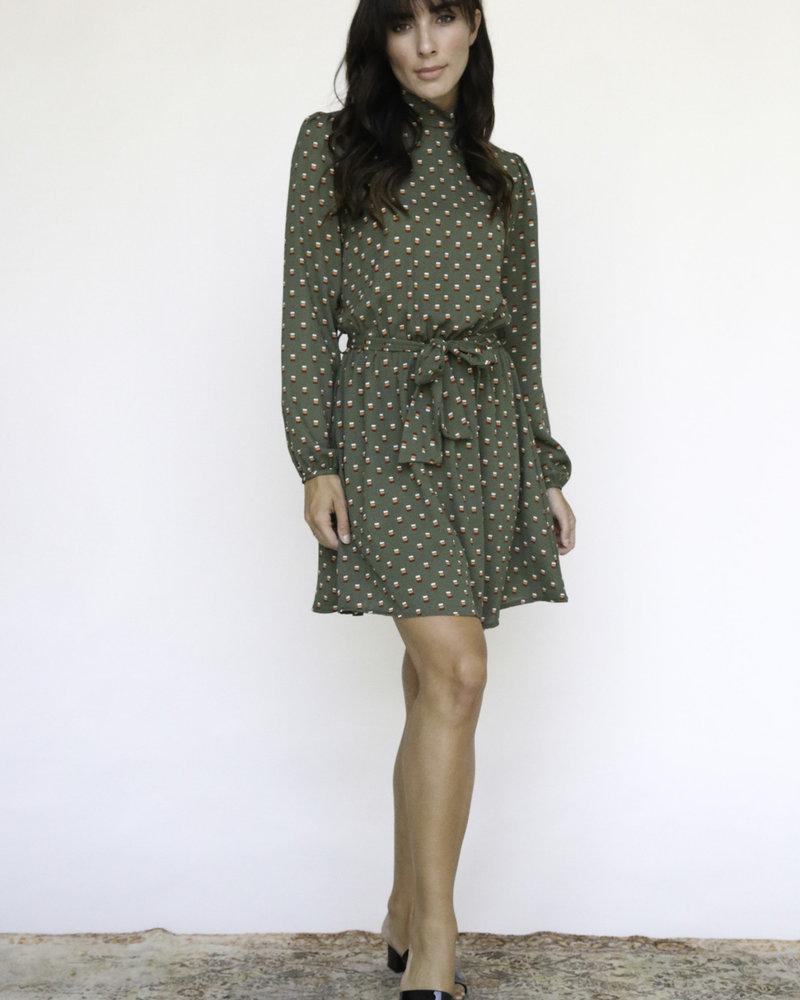 Mock Neck Chiffon Dress