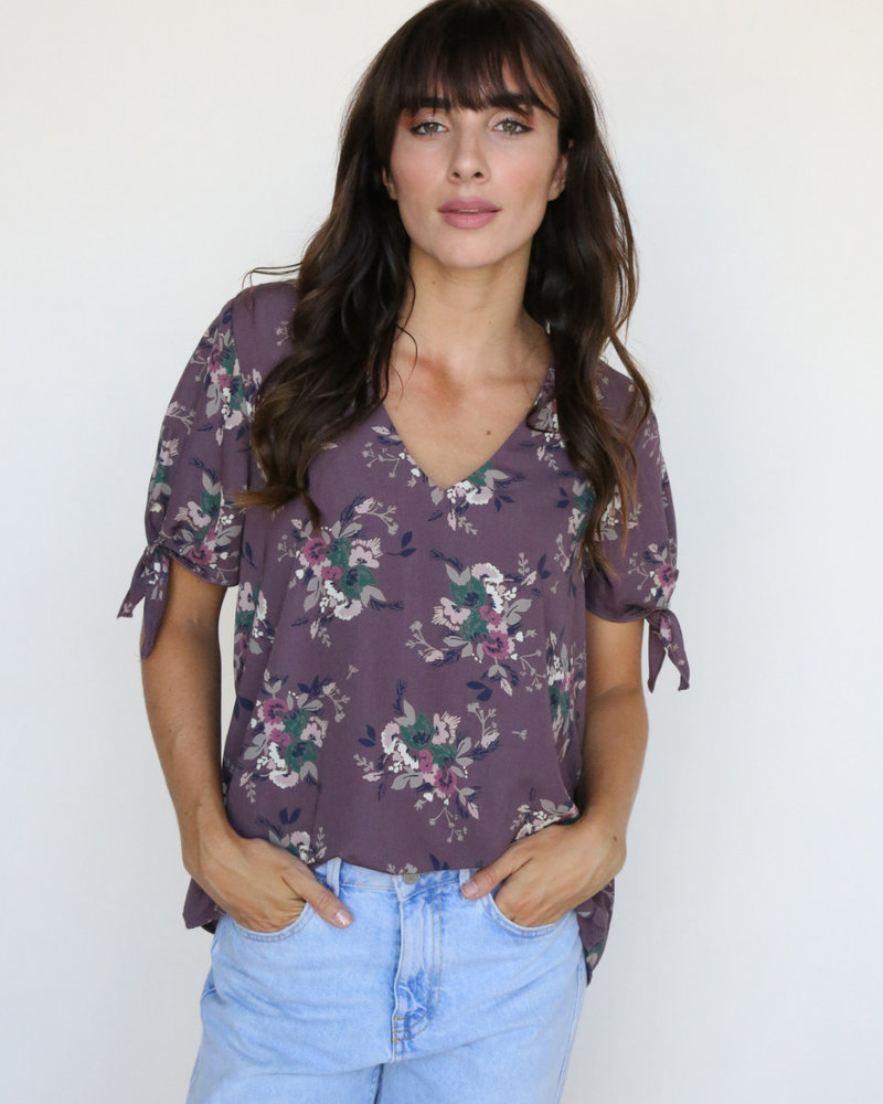 Dusty Purple Foral Top