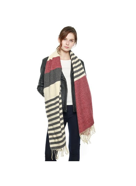Ultra Soft Stripe Burgundy Scarf