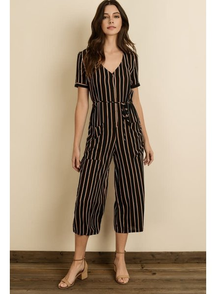 Stripe Button-Front Jumpstuit