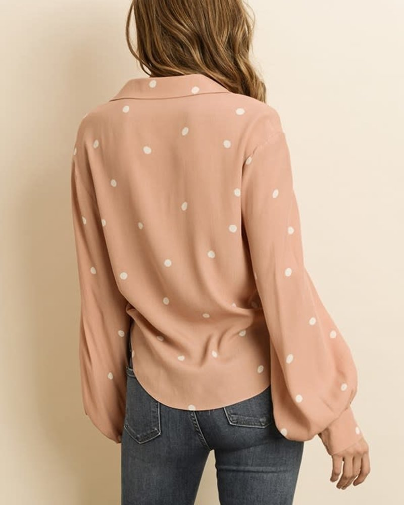 Spaced Polka Dot Knot-Front Shirt