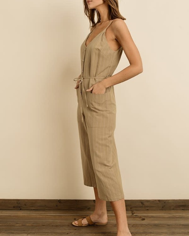 Pinstripe Button-Down Jumpsuit