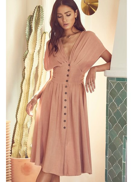 V-Neck Button Down Midi Dress