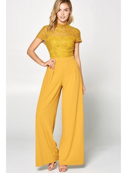 Leeds mock Neck Lace Trim Wide Leg Jumpsuit