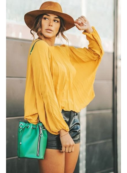 5c79a619990d6c Dolman Sleeve Washed Crepe Top | Mustard