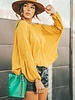 Dolman Sleeve Washed Crepe Top | Mustard